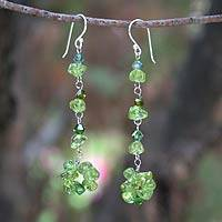 Peridot dangle earrings, 'Waterfall' - Beaded Peridot Earrings