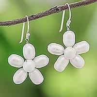 Pearl flower earrings, 'Paradise'
