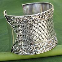 Sterling silver cuff bracelet, 'Jasmine Beauty'