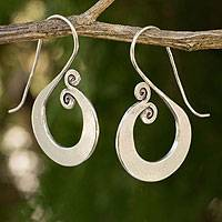Silver drop earrings, 'Music'