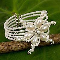 Featured review for Pearl wrap bracelet, Dazzling Pinwheel