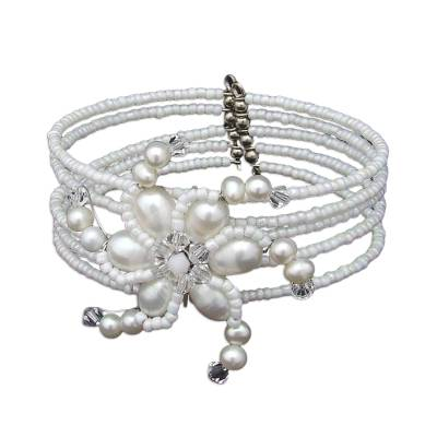 Pearl wrap bracelet, 'Dazzling Pinwheel' - Pearl Wrap Bracelet