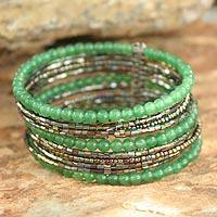 Beaded cuff bracelet, 'Tantalizing Green' - Beaded cuff bracelet