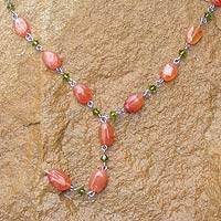 Carnelian Y necklace, 'Orange Marmalade'
