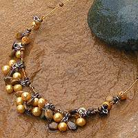 Tiger's eye and pearl choker, 'Treasure' - Pearl and Tiger's Eye Choker