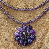 Amethyst flower necklace, 'Chrysanthemum'