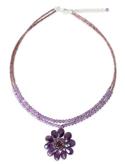 Amethyst flower necklace, 'Chrysanthemum' - Floral Amethyst Necklace from Thailand