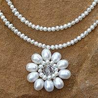 Pearl flower necklace, 'White Chrysanthemum'