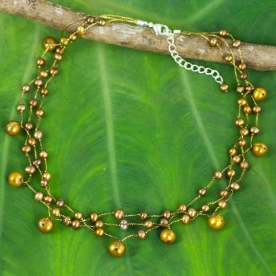 Pearl choker, 'Cinnamon Glow' - Hand Crafted Pearl Choker Necklace