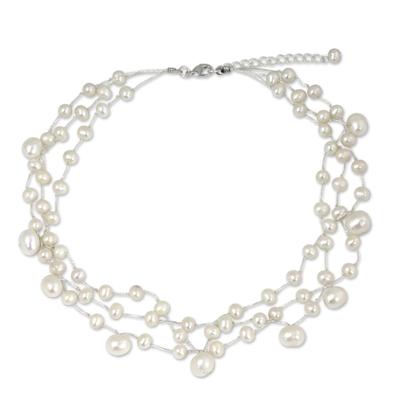 Pearl choker, 'Moonlight Glow' - Artisan Crafted Pearl Choker