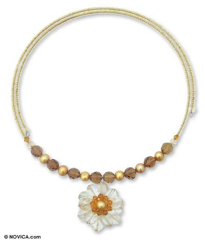 Pearl and citrine flower necklace, 'Oriental Bloom' - Pearl and citrine flower necklace