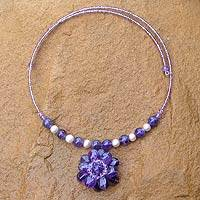 Featured review for Pearl and amethyst flower necklace Oriental Bloom