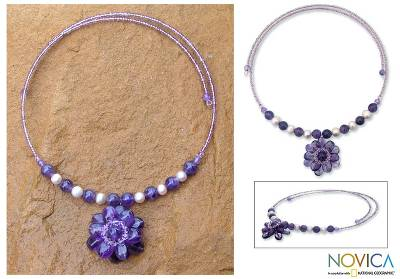 Pearl and amethyst flower necklace Oriental Bloom