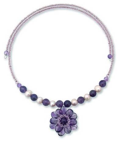 Pearl and amethyst flower necklace 'Oriental Bloom' - Handmade Pearl and Amethyst Flower Necklace