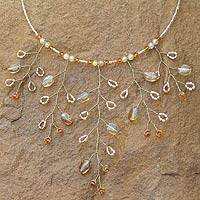 Citrine choker, 'Branch of Gold' - Hand Made Thai Beaded Citrine Necklace