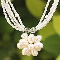 Pearl flower necklace, 'Paradise Flower' - Bridal Pearl Pendant Necklace