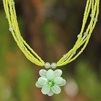 Pendant necklace, 'Paradise Flower' - Floral Quartz Necklace