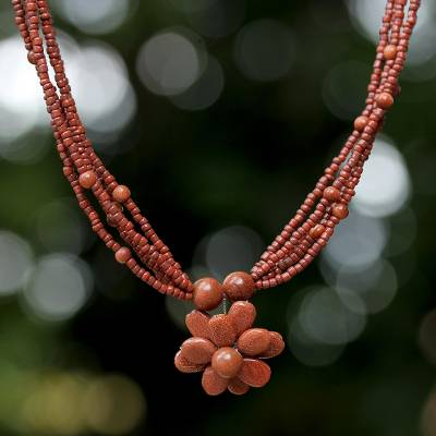 Beaded flower necklace, 'Cinnamon Paradise Flower' - Hand Made Beaded Pendant Necklace