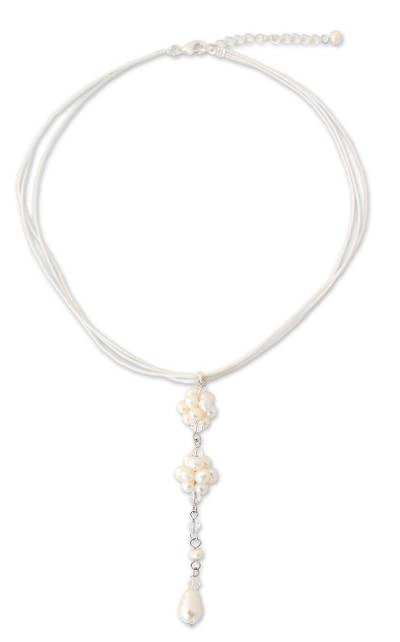 Pearl choker, 'Floral Elegance' - Pearl Choker Necklace