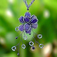 Beaded flower necklace, 'Blue Camellia'