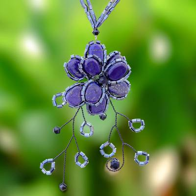 Beaded flower necklace, 'Blue Camellia' - Hand Crafted Floral Lapis Lazuli Pendant Necklace