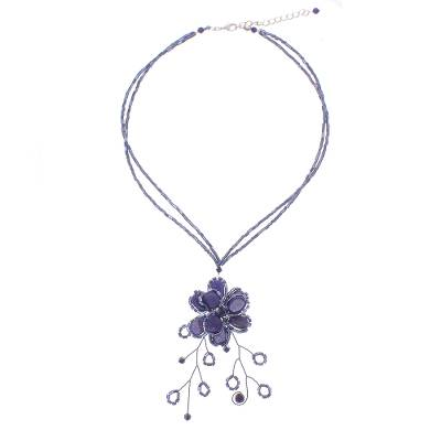 Hand Crafted Floral Lapis Lazuli Pendant Necklace