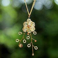 Citrine flower necklace, 'Camellia'