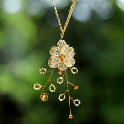 Citrine flower necklace, 'Camellia' - Hand Crafted Floral Citrine Necklace