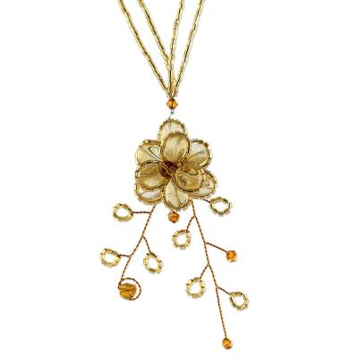 Hand Crafted Floral Citrine Necklace