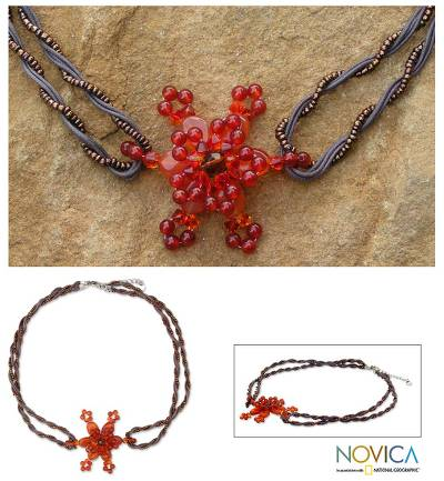 Carnelian flower necklace, 'Starburst' - Carnelian flower necklace