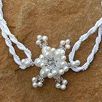 Pearl flower necklace, 'Starburst' - Pearl flower necklace