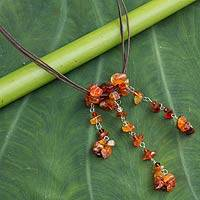 Carnelian beaded necklace, 'Waterfall' - Handcrafted Carnelian Necklace