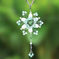 Beaded flower necklace, 'Carnation Dazzle' - Floral Quartz Beaded Necklace