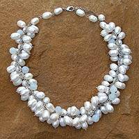 Cultured pearl choker, 'Blue Princess' - Handcrafted Bridal White Cultured Pearl Choker Necklace
