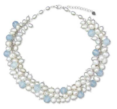 Handcrafted Bridal White Cultured Pearl Choker Necklace