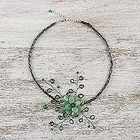 Peridot flower necklace, 'Elusive Blossom' - Handcrafted Floral Beaded Quartz Necklace
