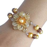 Pearl and citrine floral bracelet, 'Oriental Bloom' - Fair Trade Citrine and Pearl Bracelet