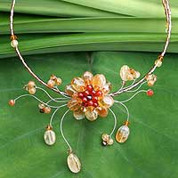Carnelian and citrine flower necklace, 'Orange Bloom'
