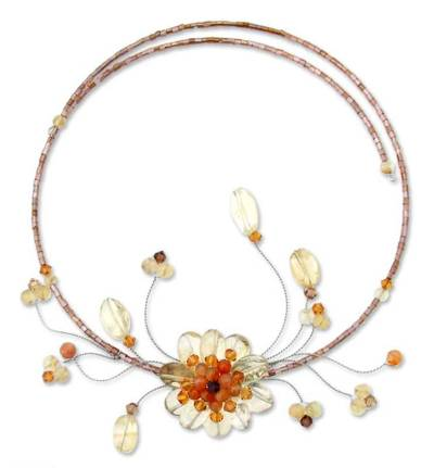 Carnelian and citrine flower necklace, 'Orange Bloom' - Unique Floral Citrine Beaded Necklace