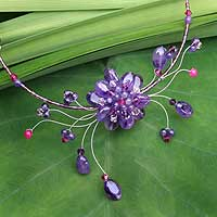 Amethyst flower necklace, 'Violet Bloom' - Fair Trade Floral Amethyst Choker