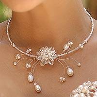 Pearl and quartz flower necklace, 'Iridescent Bloom'