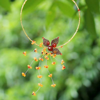 Carnelian flower necklace, 'Maple Comet' - Carnelian flower necklace