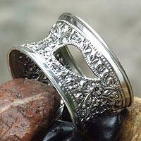 Sterling silver cuff bracelet, 'Thai Charm'