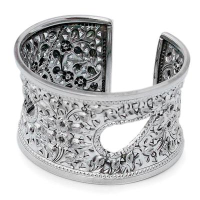 Sterling silver cuff bracelet, 'Thai Charm' - Sterling silver cuff bracelet