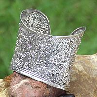 Sterling silver cuff bracelet, 'Lanna Princess' - Handcrafted Floral Sterling Silver Cuff Bracelet