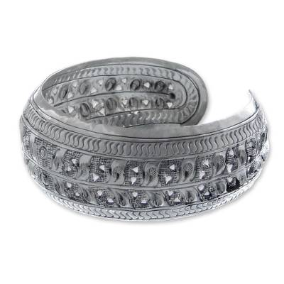 Sterling silver cuff bracelet, 'Force of Nature' - Sterling silver cuff bracelet