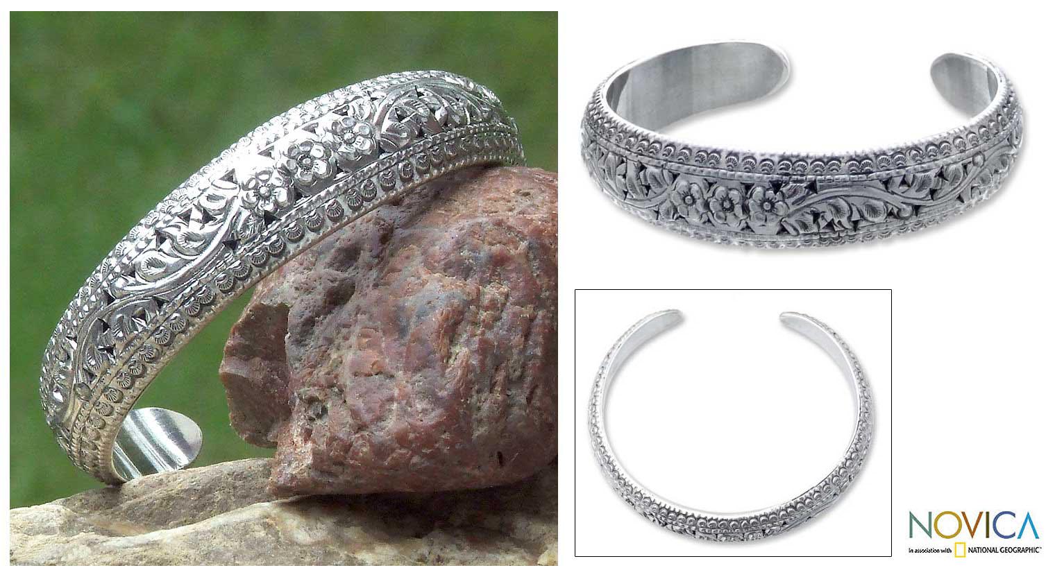 Bali éléphant Cuff Sterling Silver Bracelet .925 Argent Pur