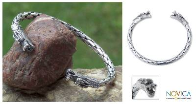 Sterling silver cuff bracelet, 'Power of Dragons' - Sterling silver cuff bracelet