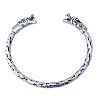 Sterling silver cuff bracelet, 'Power of Dragons' - Sterling silver cuff bracelet