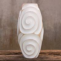 Wood vase, 'White Melody of Art' - Hand Carved Modern Wood Vase